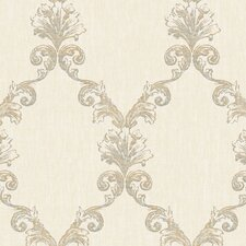 "Natural Radiance Belvedere 27' x 27"" Damask Foiled Wallpaper"