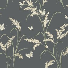 "Black and White Tall Grass Butterflies 27' x 27"" Floral and Botanical 3D Embossed Roll Wallpaper"
