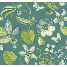 "Carey Lind Vibe Sea 27' x 27"" Floral and Botanical Wallpaper"