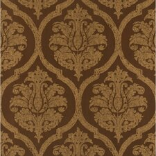 "Leather 27' x 27"" Damask Flocked Wallpaper"