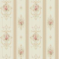 "Spa Blues 33' x 20.5"" Delicate Rose Stripe Roll Wallpaper"
