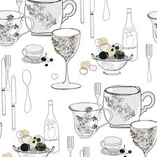 Bistro 750 Graphic Tableware 33' x 20.5'' Food and Beverage Wallpaper