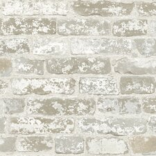 "Risky Business up The Wall Trompe L'oeil 33' x 20.5"" Brick Distressed Wallpaper"