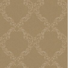 "Royal Cottage Leafy Ogee 33' x 20.5"" Damask Foiled Wallpaper"