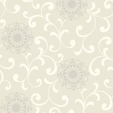 "Silhouettes Daisy 33' x 20.5"" Scroll Embossed Wallpaper"
