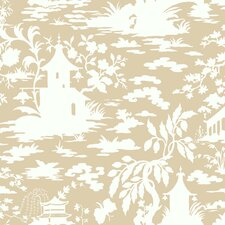 "Silhouettes Asian 27' x 27"" Toile 3D Embossed Wallpaper"