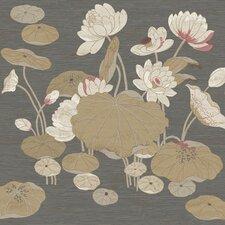 "Aged Elegance II 27' x 27"" Lotus Floral Distressed Wallpaper"