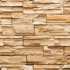 "Modern RusticTrompe L'oeil 33' x 20.8"" Travertinex Wallpaper"