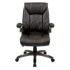 Mid-Back Manager Chair with Padded Flip Arms in Espresso