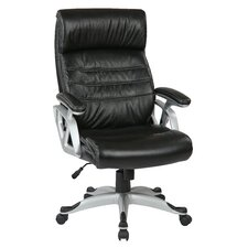 """Work Smart 25.75"""" Leather Executive Chair with Adjustable Arms and Base"""