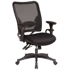 SPACE Dual Function Mid-Back Leather Managerial Chair with Arms