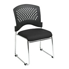 Guest Chair with Plastic Back Fabric Seat (Set of 2)