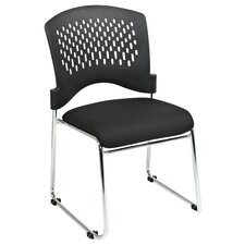 Plastic Back SpringFlex Fabric Seat Visitors Office Chair with Chrome Frame Sled Base, Gangable and Stackable (Set of 4)