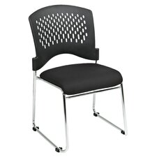 Plastic Back SpringFlex Fabric Seat Visitors Office Chair with Chrome Frame Sled Base, Gangable and Stackable (Set of 20)