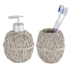 2-tlg. Zahnputzbecher- und Seifenspender-Set Wool Ball