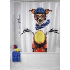 2-tlg. Duschvorhang Biker Dog aus 100% Polyester