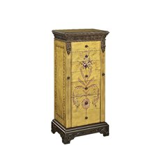 Masterpiece Antique Parchment Hand Painted Jewelry Armoire