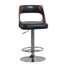 Bent Adjustable Height Swivel Bar Stool with Cushion