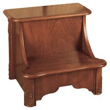 Woodbury Mahogany 2-Step Manufactured Wood Bed Step Stool with 200 lb. Load Capacity