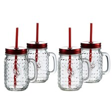 Rooster 16 oz. Mug with Handle and Straw (Set of 4)