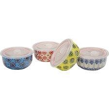 4 Piece 32 oz. Print 11  Microwave Storage Bowl Set (Set of 4)