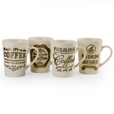 4 Piece Metallic Saying Mug Set