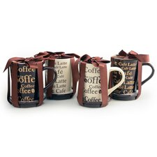 4 Piece Coffee Coaster Mug Set