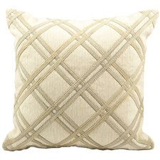Diamond Caning Faux Leather Throw Pillow
