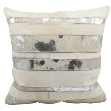 Metallic Hide Leather Throw Pillow