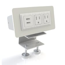 EYHOV Rail Desktop Mounted Power Unit with 2 Outlets and 2 USB Ports
