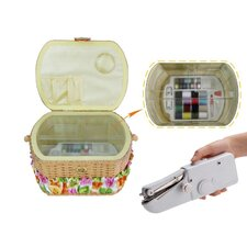 Sewing Basket with 41 Piece Sewing Kit and Handheld Sewing Machine