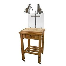 Dual Stainless Steel Lamp Maple Butcher Block Carving Station
