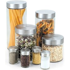 16 Piece Glass Canister and Spice Jar Set