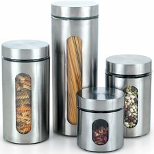 8 Piece Glass Canister with Stainless Window Set