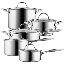 10-Piece Multi-Ply Clad Stainless Steel Cookware Set