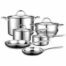 10 Piece Multi-Ply Clad Stainless Steel Cookware Set