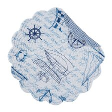 Coastal Fair Winds Reversible Round Quilt Placemat (Set of 6)