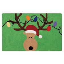 Reindeer Green Hooked Area Rug
