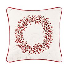 Berry Wreath Embroidered Cotton Throw Pillow