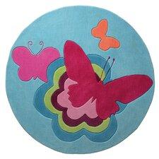 Handgetufteter Teppich Butterflies in Blau