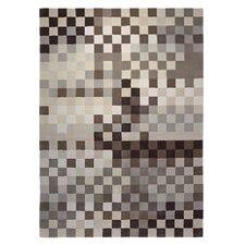 Handgefertigter Teppich Pixel in Braun/ Beige