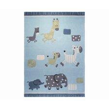 Handgetufteter Teppich in Blau