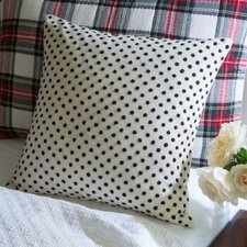 Embroidered Dots Toss Cotton Throw Pillow