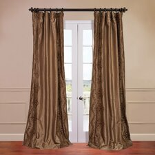 Chai Embroidered Faux Silk Semi-Opaque Single Curtain Panel