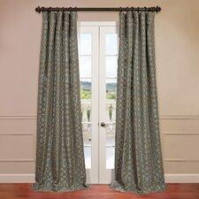 Filigree Flocked Faux Silk Semi-Opaque Single Curtain Panel