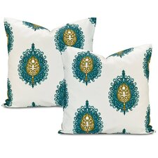 Mayan Teal Printed Cotton Cushion Cover (Set of 2)