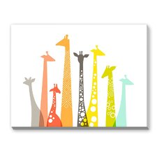 Giraffes Framed Graphic Art on Canvas