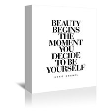 Beauty Begins The Moment You Decide to be Yourself Coco Chanel Textual Art on Gallery Wrapped Canvas