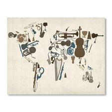 Musical Instrument Map Wall Mural