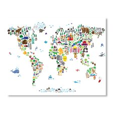 World Animal Map Wall Mural